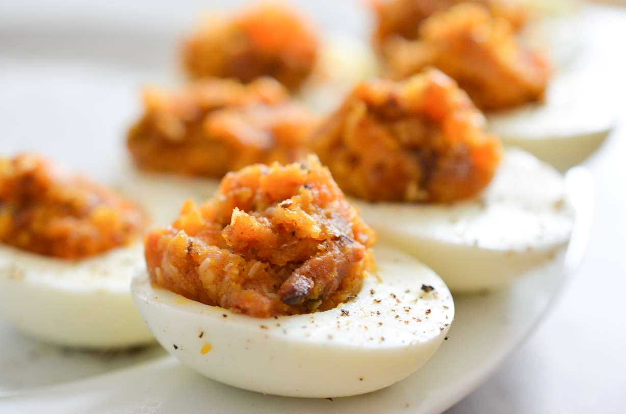 Bacon Deviled Eggs w. Caramelized Onions and Cheddar Cheese | Levon's ...